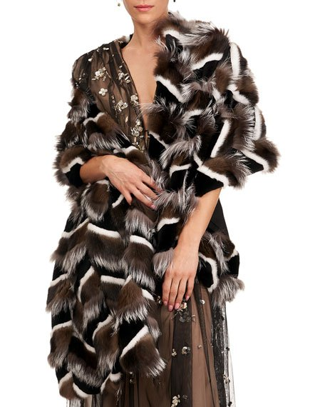 Sable, Mink And Fox Intarsia Stole