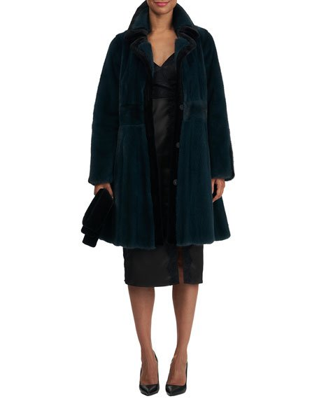 Short Mink Fur Coat w/ Sheared Mink Edges & Belt