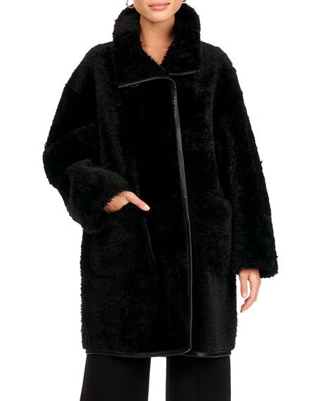 Reversible Shearling Lamb Fur Stroller Coat