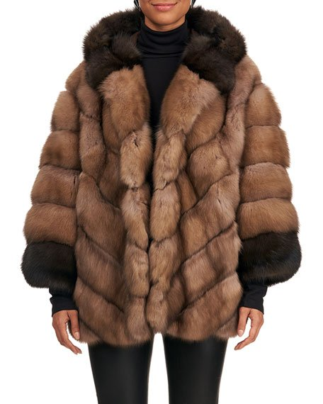 Two-Tone Sable Fur Jacket