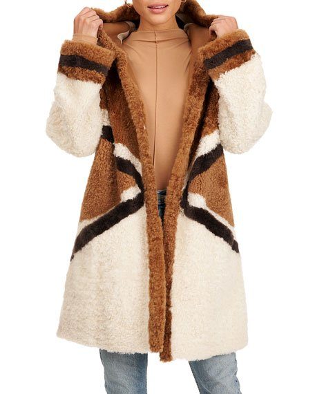 Reversible Shearling Lamb Fur Parka Coat