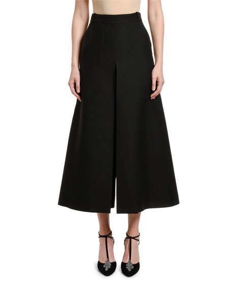 Wool-Silk Wide-Leg Crop Pants