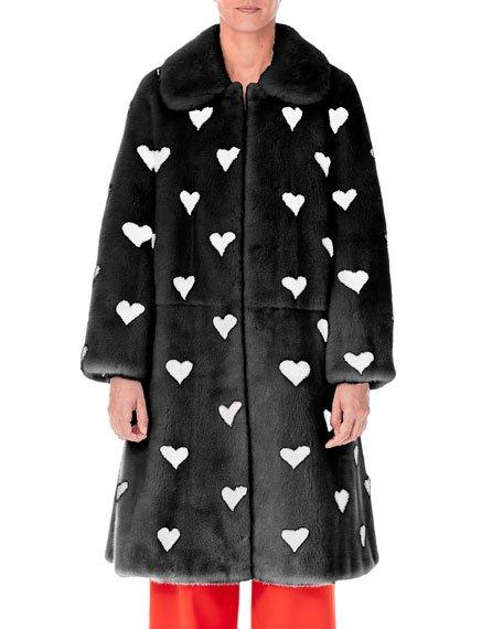 Heart Intarsia Mink Fur Stroller Coat