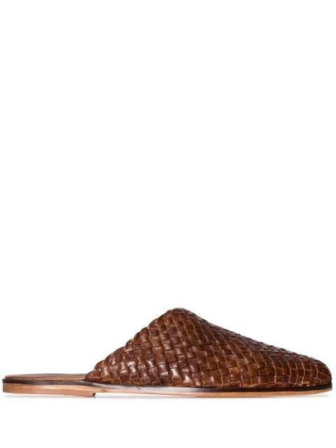 st. Agni Caio Flat Leather Woven Slippers