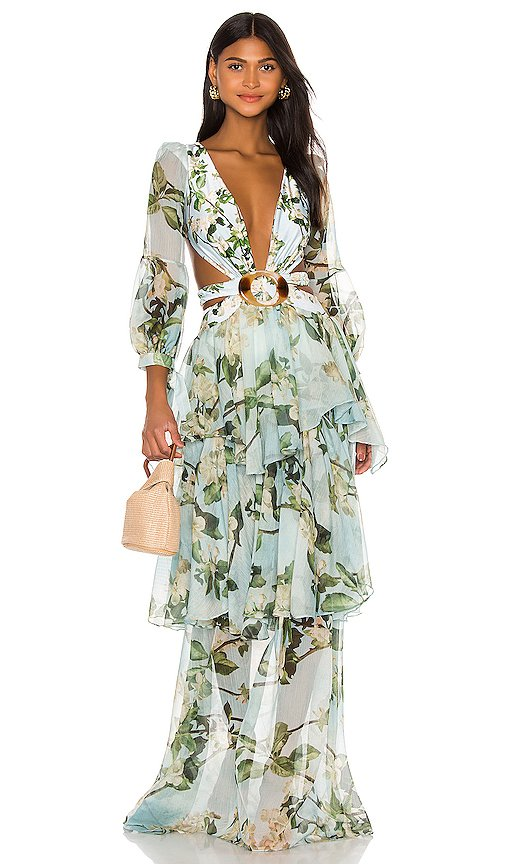 Floral Long Sleeve Beach Dress