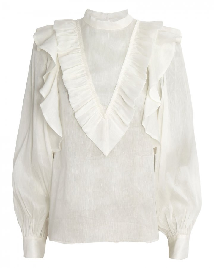 Liberation Frill Silk-Linen Blouse