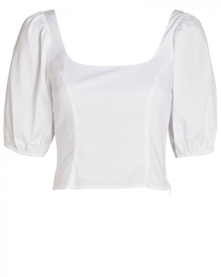 Papaya Poplin Puff Sleeve Top