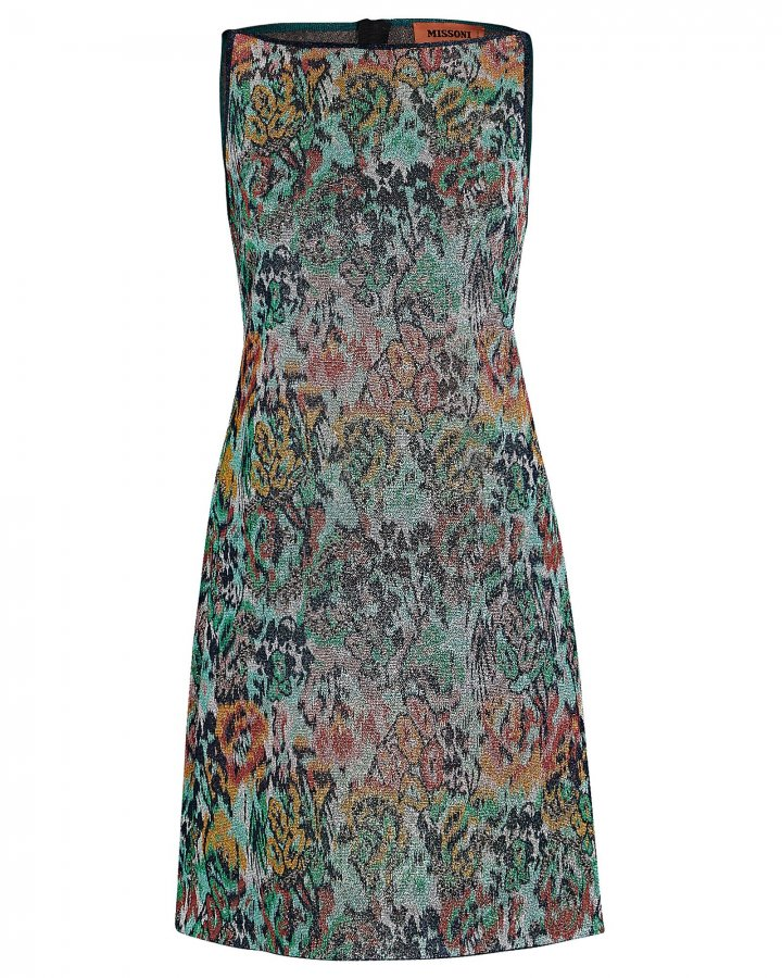 Lurex Floral Mini Shift Dress