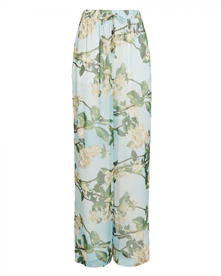 Floral Chiffon Wide-Leg Pants