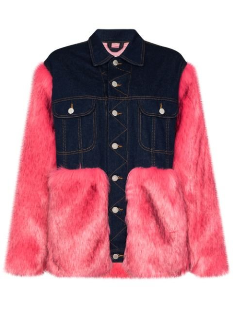 Natasha Zinko Oversized faux-fur Denim Jacket