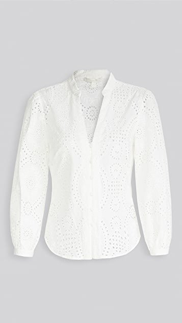 Alex Broderie Anglaise Button Front Top