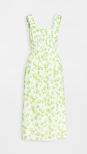Rashida Smocked Slit Front Midi Dress