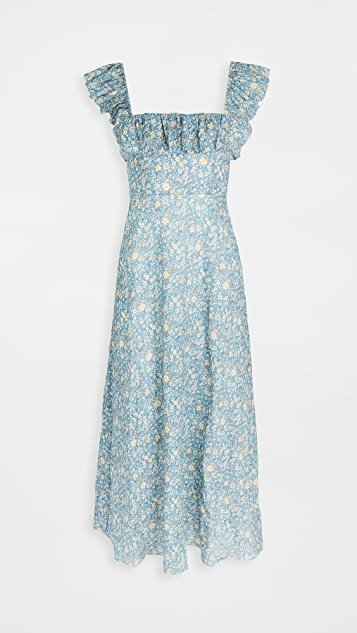 Carnaby Ruffle Neck Long Dress