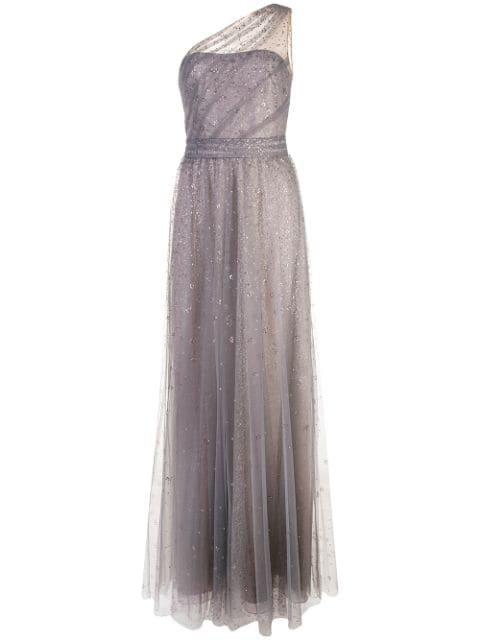 Marchesa Notte Long One-Shoulder Dress | Farfetch.com