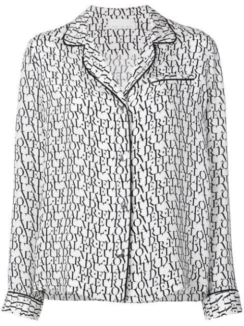 Fleur Du Mal Logo Print Pyjama Top | Farfetch.com