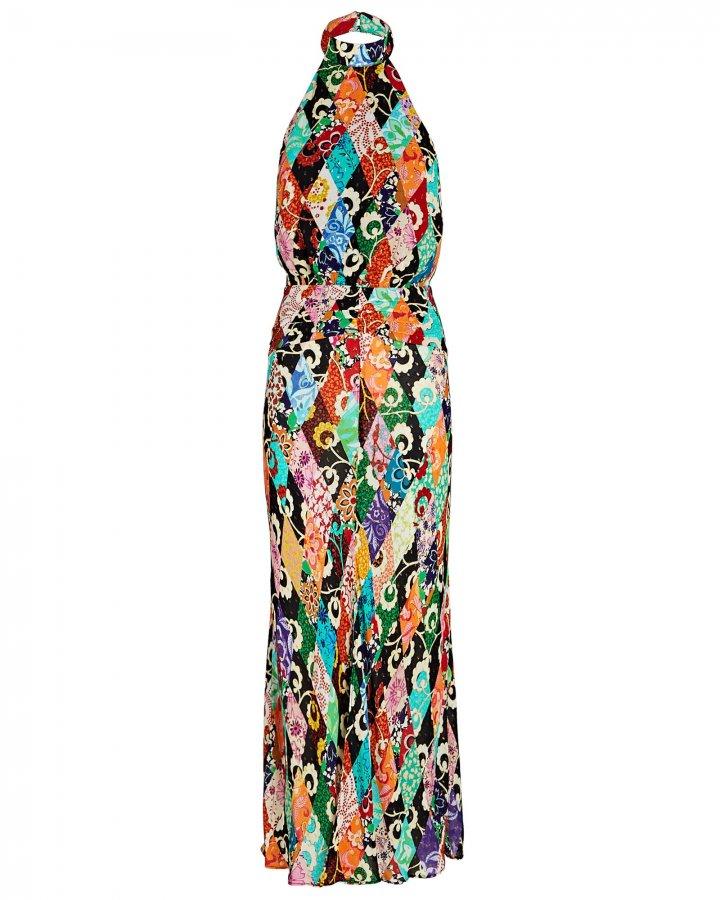 Kendra Printed Halter Midi Dress