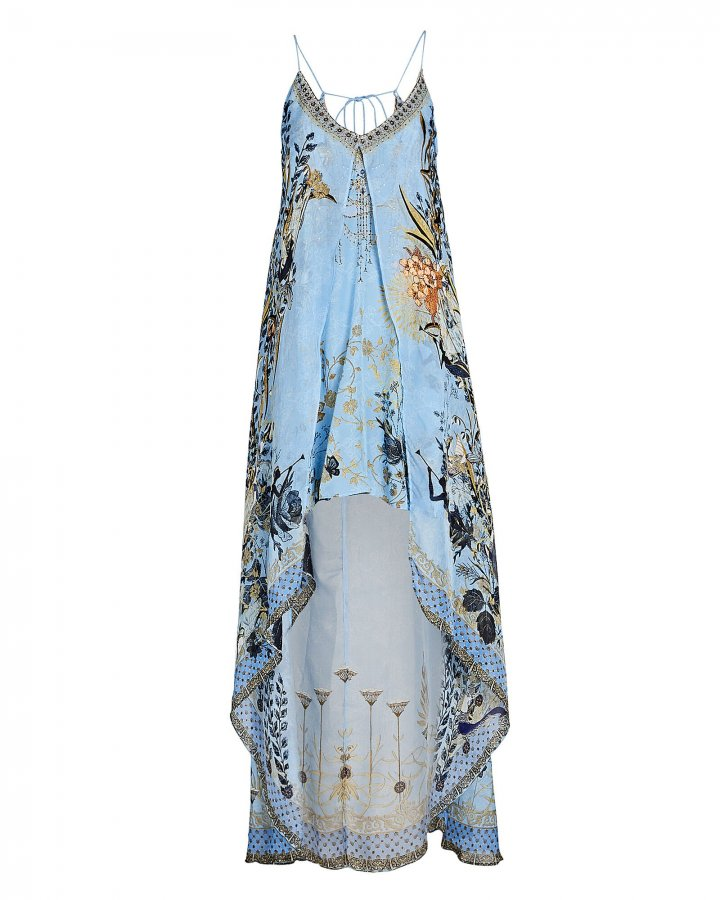 Printed Silk High-Low Dress