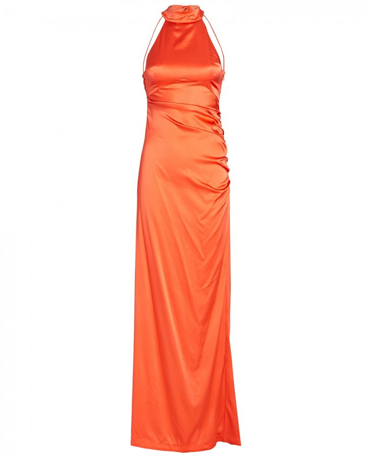 Sandy Silk Halter Gown
