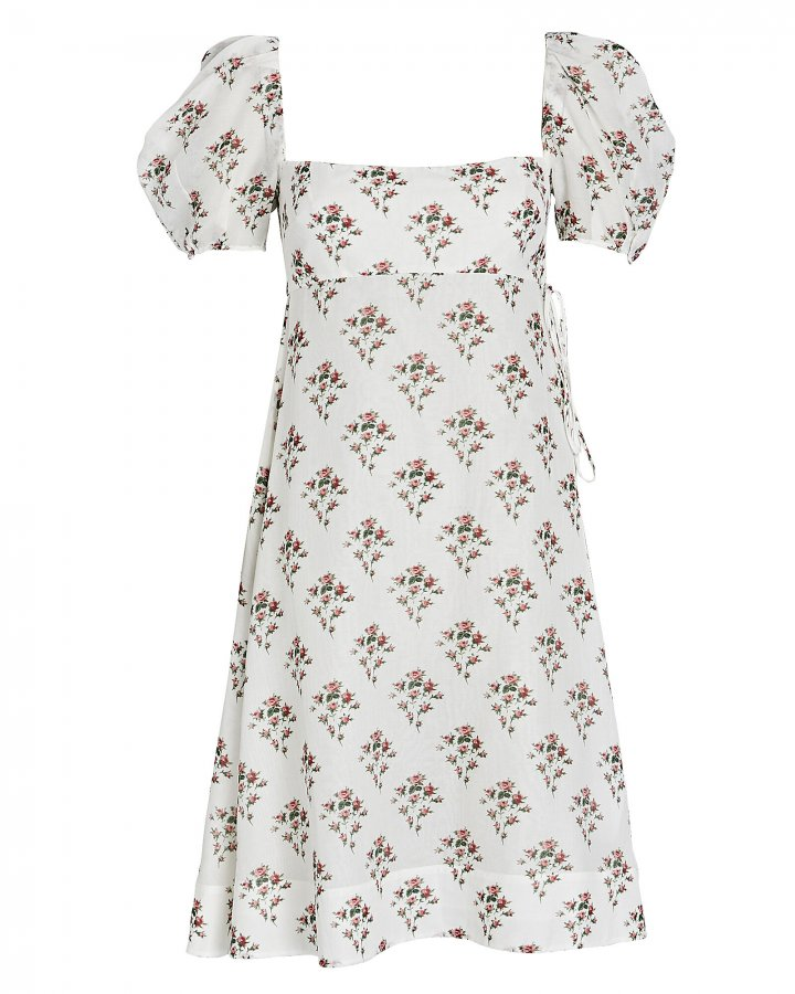 Rose Printed Puff Sleeve Dress