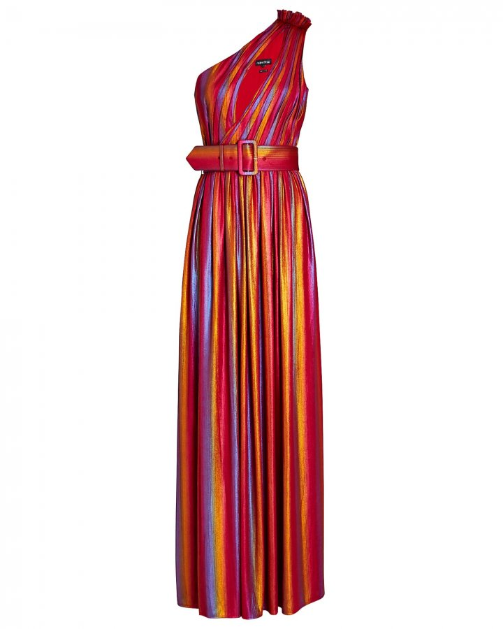 Andrea Rainbow Lamé Maxi Dress