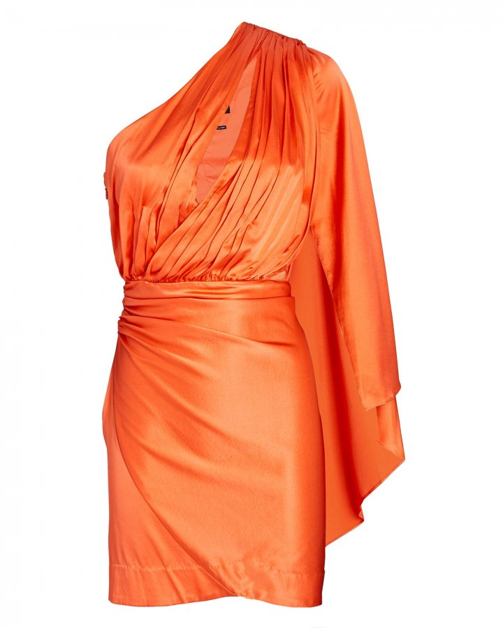 Mae Silk One-Shoulder Mini Dress