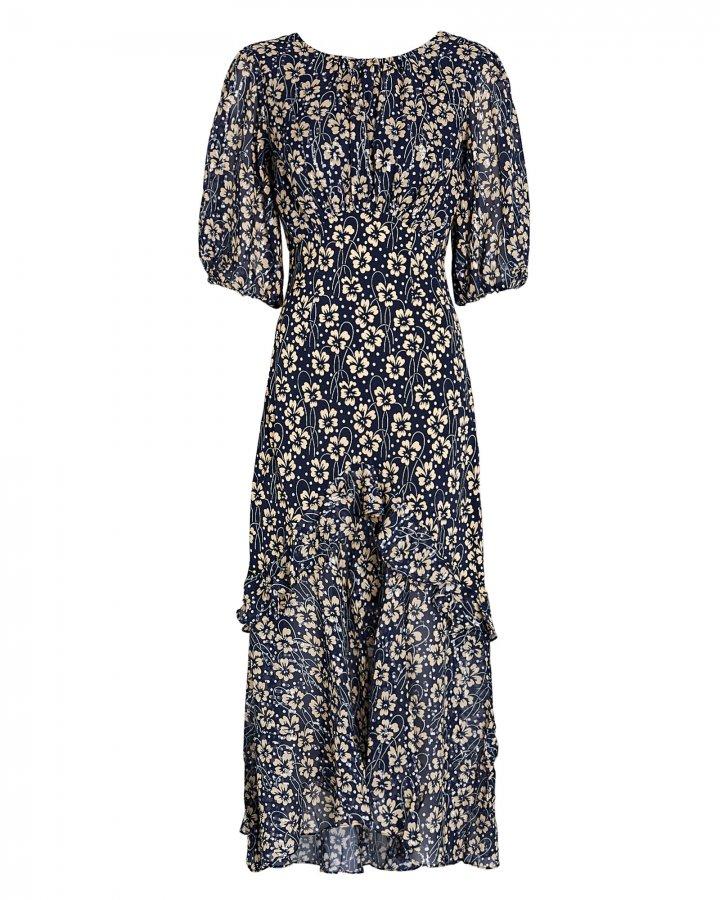 Cheryl Floral Silk Midi Dress