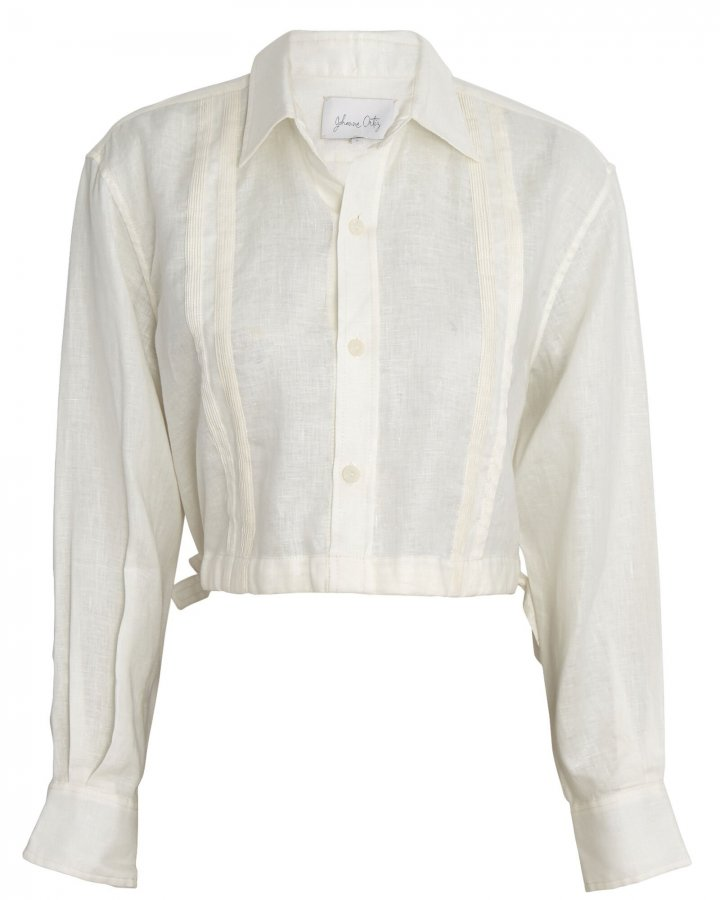 Cuban Towns Cropped Linen Shirt