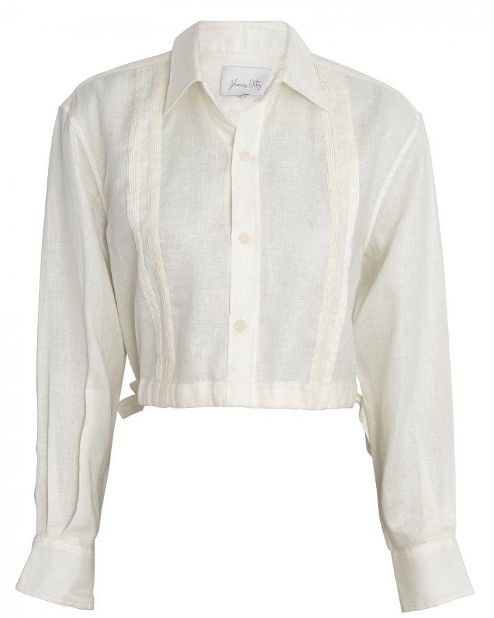 Cuban Towns Cropped Linen Shirt