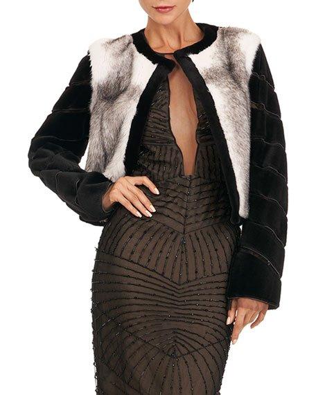 Mink Jacket w/ Sheared Mink On Tulle Sleeves