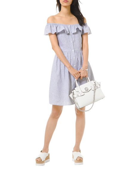 Off-the-Shoulder Button-Front Ruffle Dress