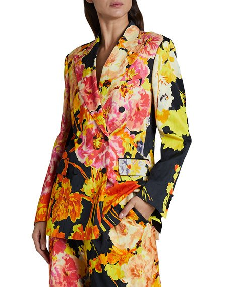 Balto Printed Floral Double-Breasted Blazer Jacket