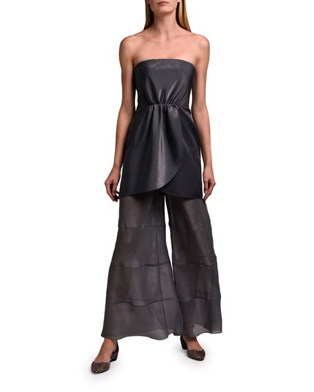 Strapless Double Satin Cocktail Dress