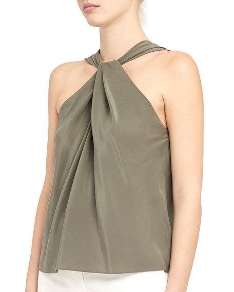 Twist-Front Silk Top