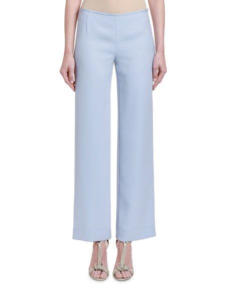 Chambray Straight-Leg Pants