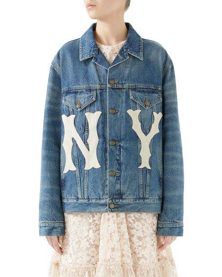 Stone-Washed Denim Jacket with NY Yankees MLB Patch