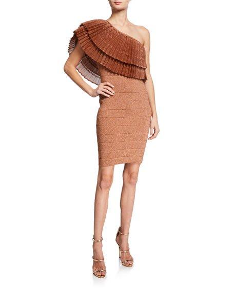 One-Shoulder Ruffled Bandage Dress