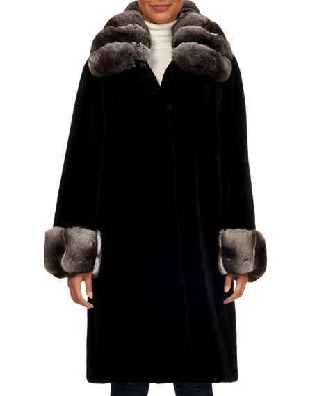 Chinchilla Wing-Collar Mink-Fur Short Coat
