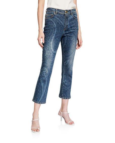 J657 Paisley-Print Jeans