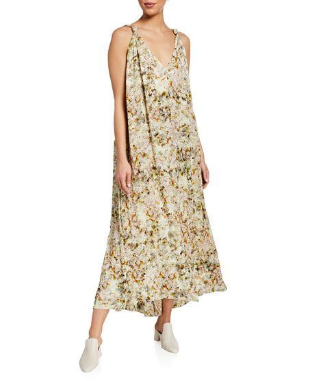 Floral Crepe Draped Maxi Dress