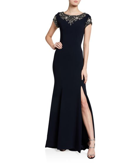 Boat-Neck Crepe Gown with Crystal Beading