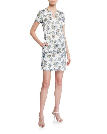 Dsissas Paisley Floral Printed T-Shirt Dress