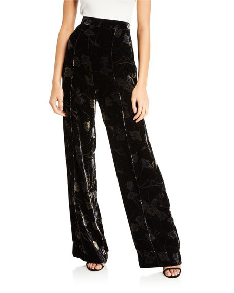 Mabel Floral Velvet Wide-Leg Pants