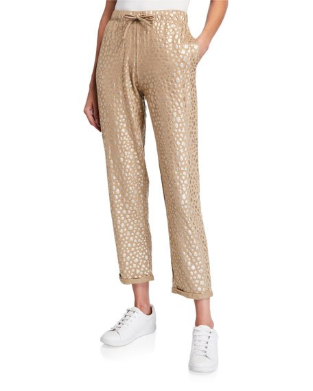 Metallic Leopard Pull-On Stretch Linen Pants
