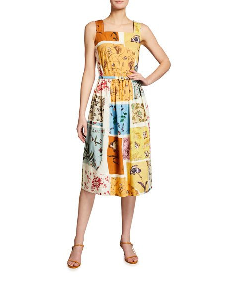 Floral Patchwork Poplin Midi Dress