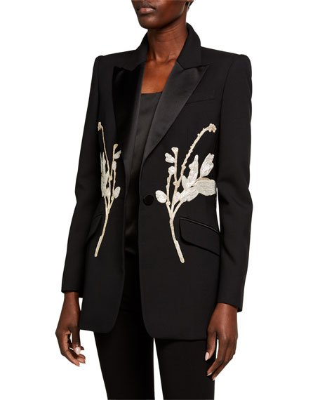 Silver Floral-Embroidered Blazer