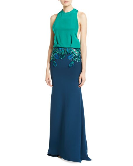 Raffia-Embroidered Sleeveless Blouson Gown
