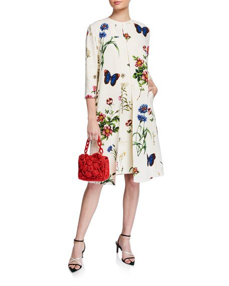 Floral Print Crepe 3/4-Sleeve Collared Coat