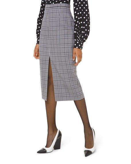 Plaid Wool Slit-Hem Pencil Skirt