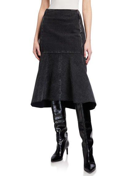 Japanese Denim Godet Midi Skirt