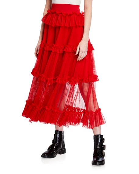 Tiered Mesh-Panel Skirt